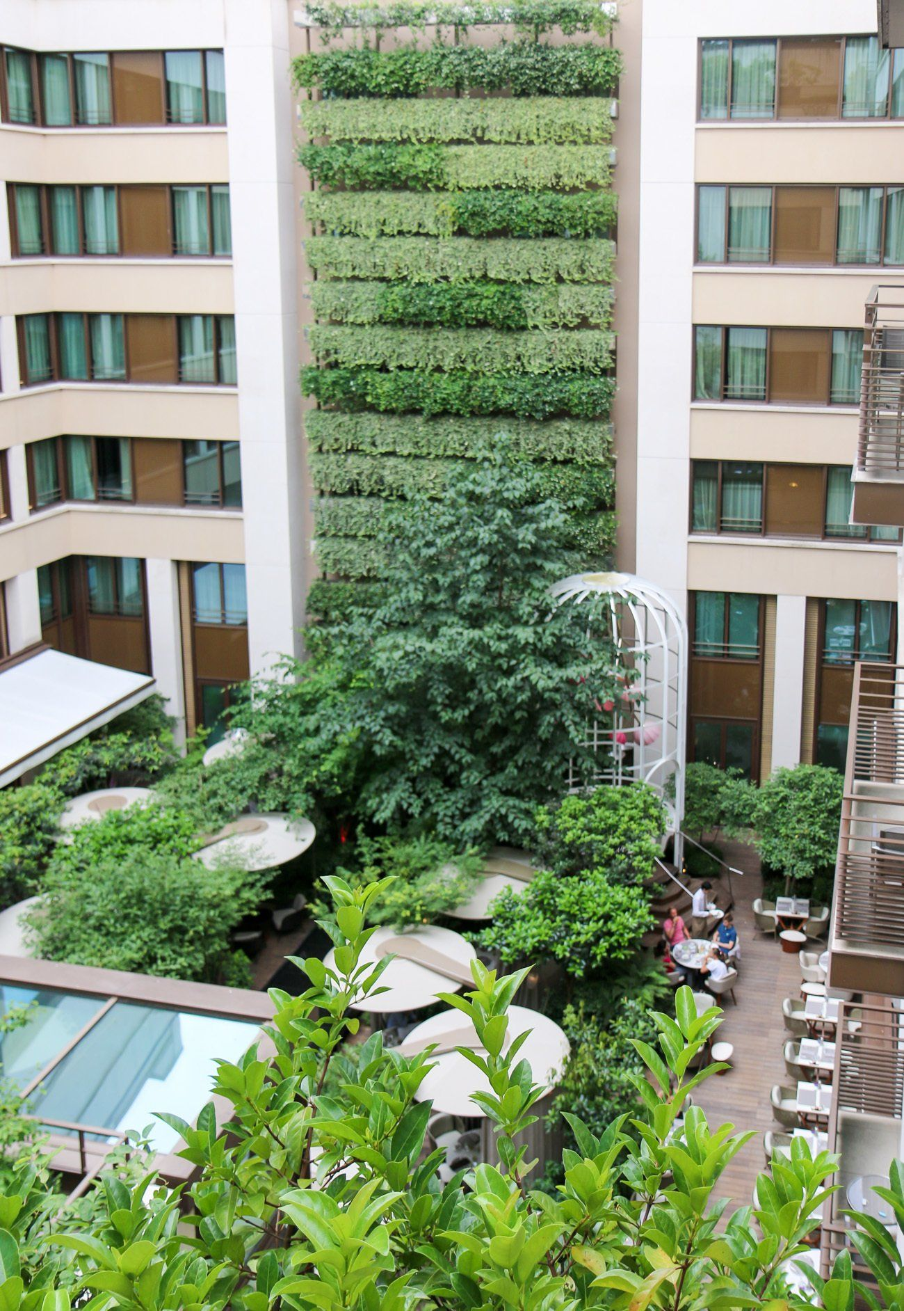 A view of the garden oasis at the Mandarin Oriental hotel in Paris