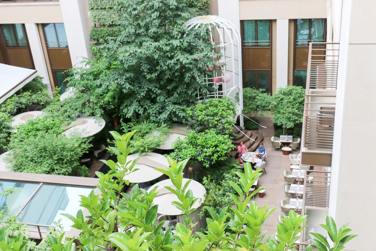 A view of the garden at the Mandarin Oriental hotel in Paris