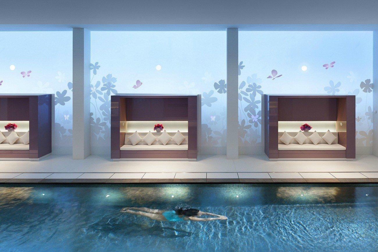 A beautiful hotel pool at the Mandarin Oriental hotel in Paris.
