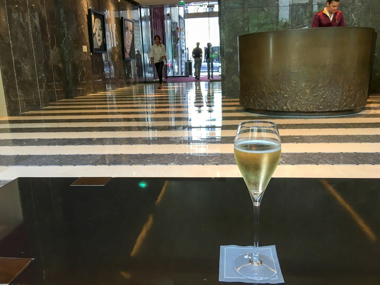 A welcome glass of champagne at the Mandarin Oriental hotel in Paris. Definitely one of the city's best luxury hotels.