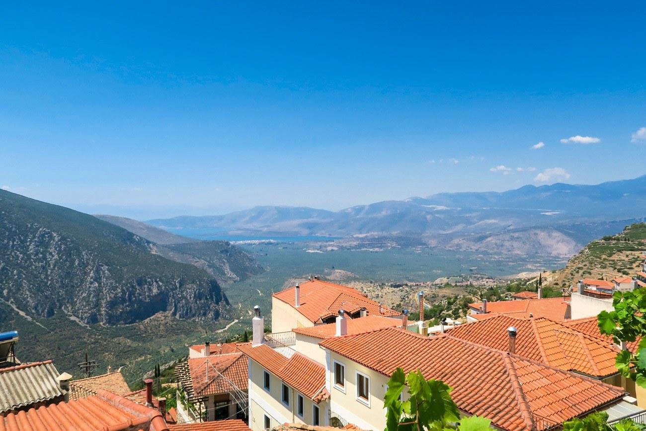 The view from Taverna Vakchos, a fantastic restaurant in Delphi, Greece.