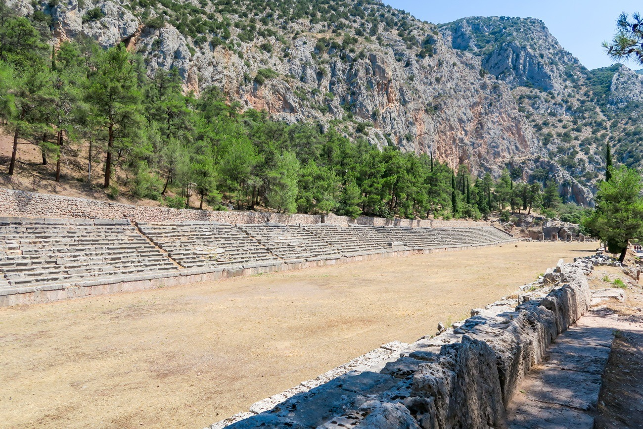 The stadium at the top of the Delphi archaeological site was used for the Pythian games.