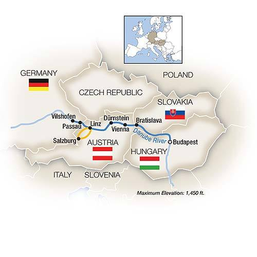 Itinerary on the Tauck Blue Danube family river cruise.