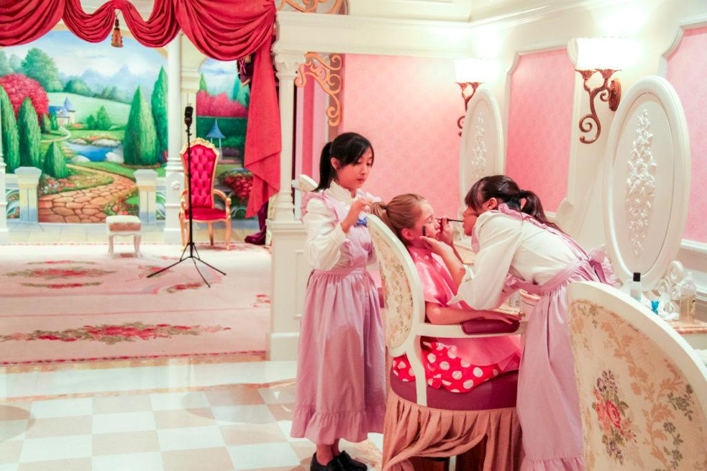 The Bibbidi Bobbidi Boutique is located outside of Hong Kong Disneyland at the Hong Kong Disneyland Hotel.