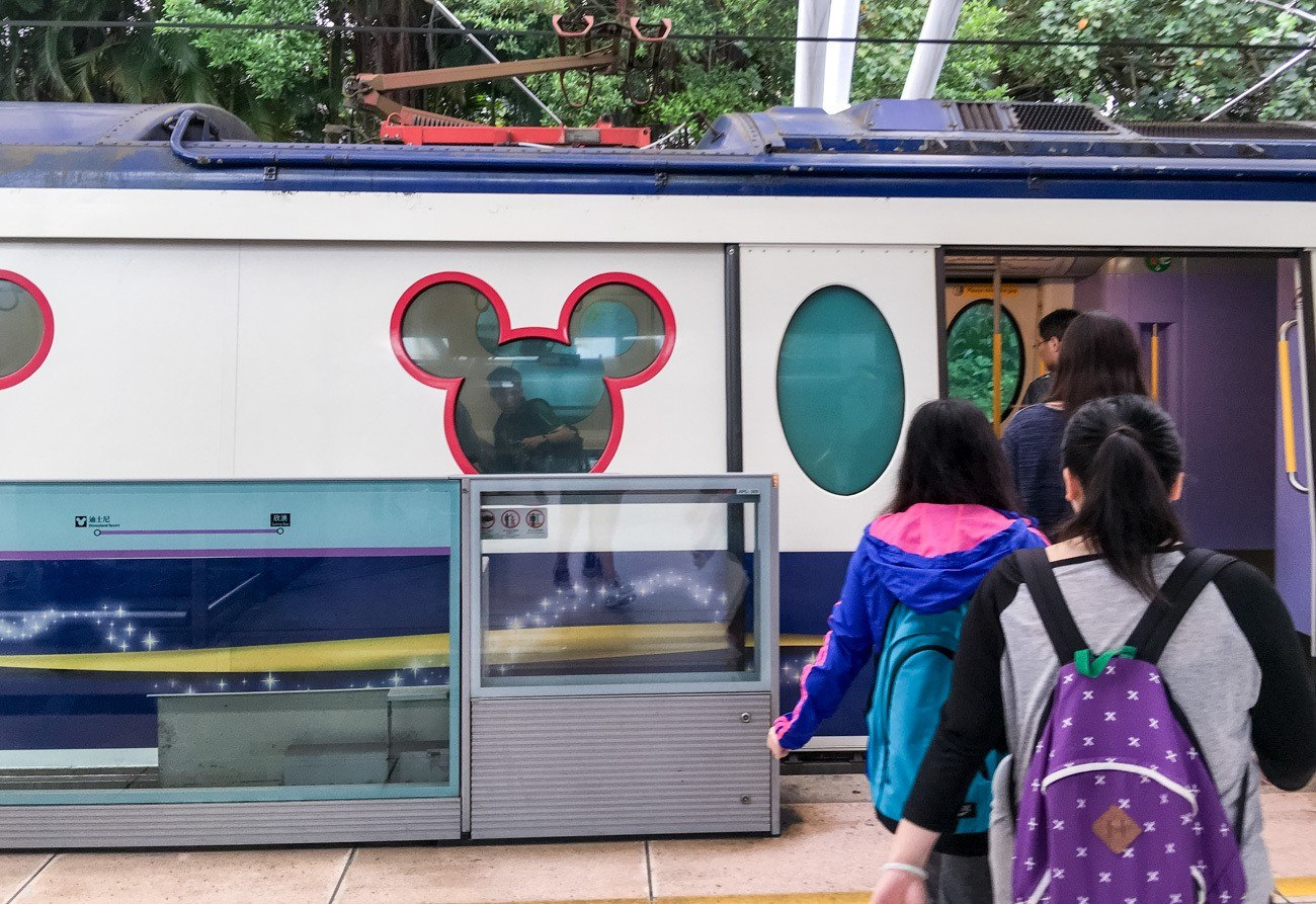 The Disney Resort Line to Hong Kong Disneyland has windows shaped like Mickey Mouse.