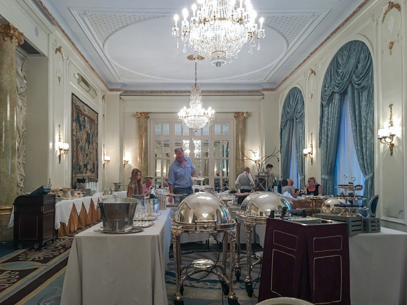 The breakfast buffet at Hotel Ritz, Madrid.