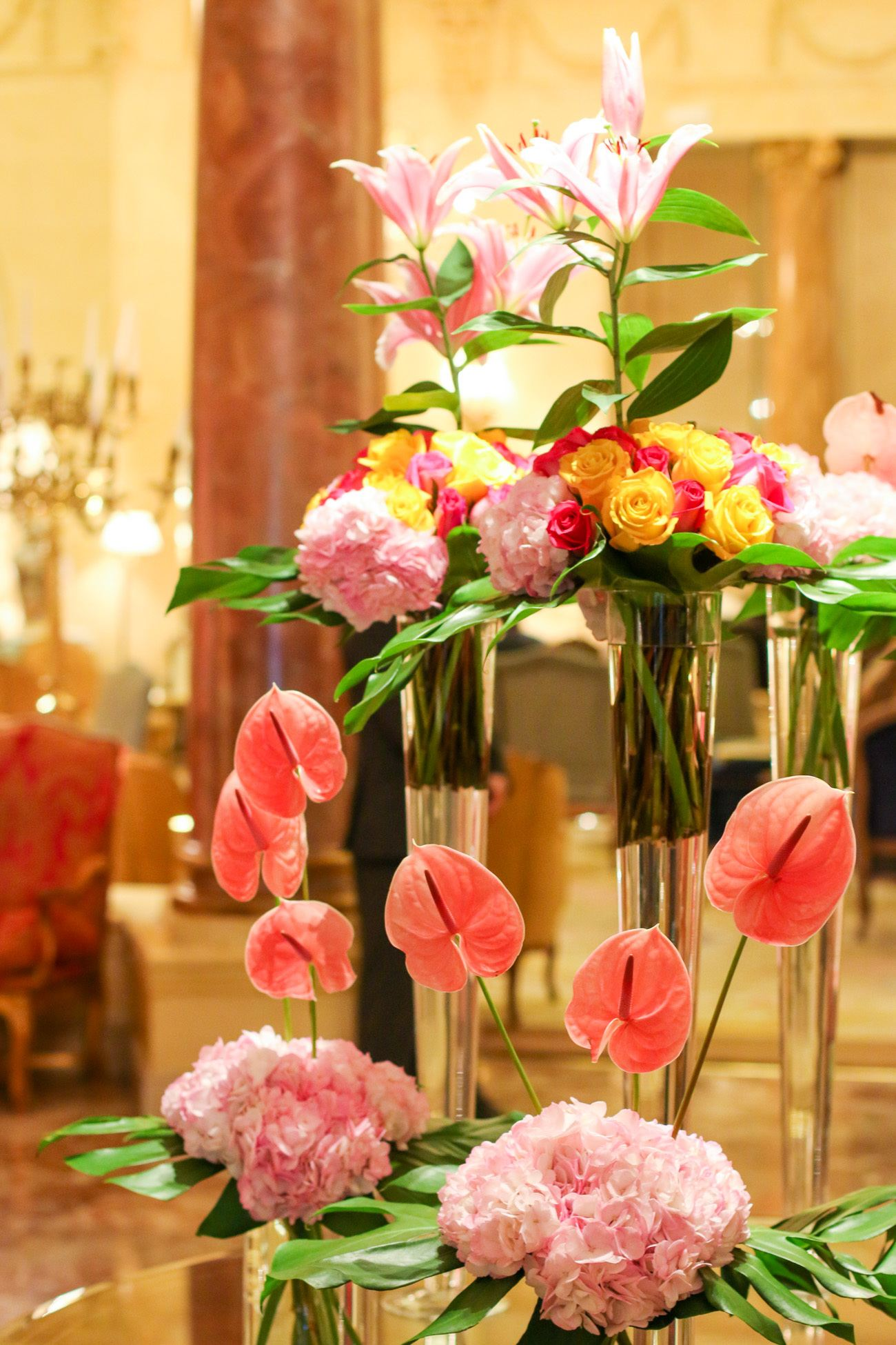 A contemporary flower arrangement inside Hotel Ritz, Madrid.