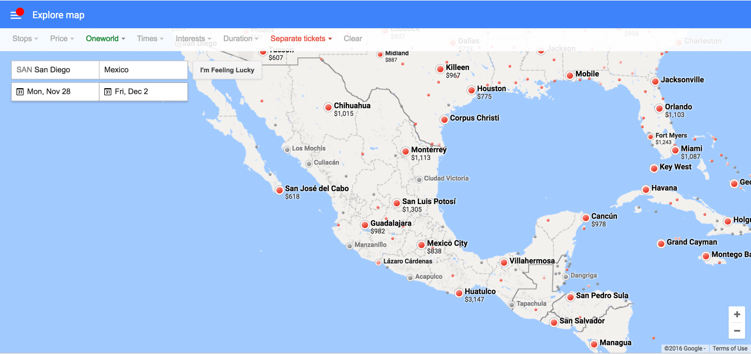 The Explore Destinations feature on Google Flights