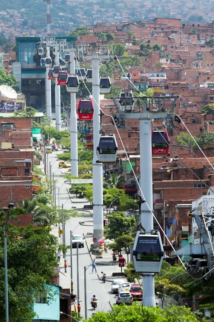 The Metrocable in Medellín is a cable propelled transit system designed to compliment the metro and reach less developed parts of the city. Imagine the views!