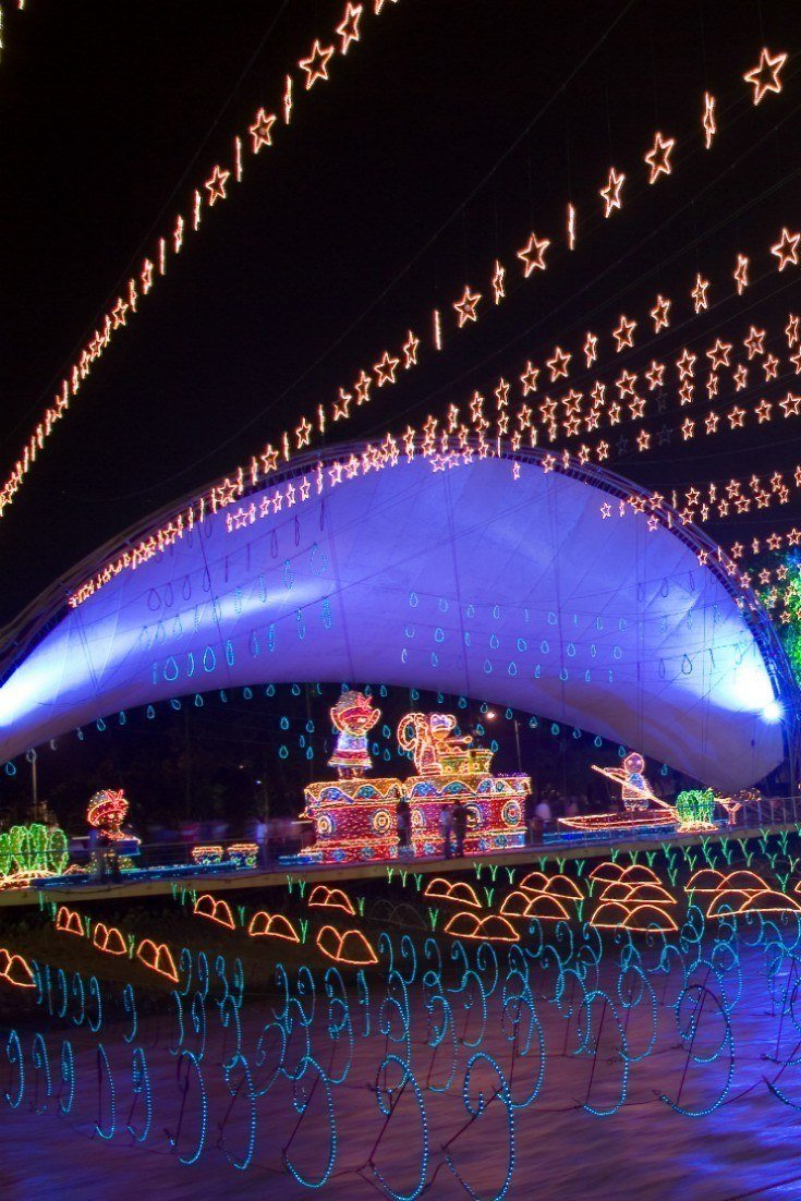 Christmas lights in Medellin over the river.
