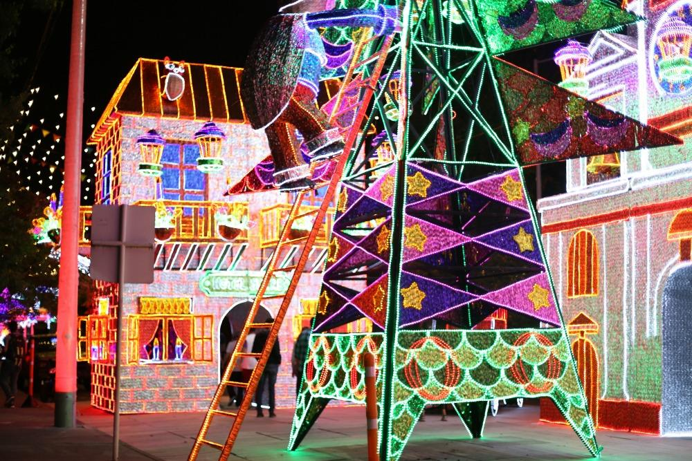 A Christmas light display in Medellín, Colombia.