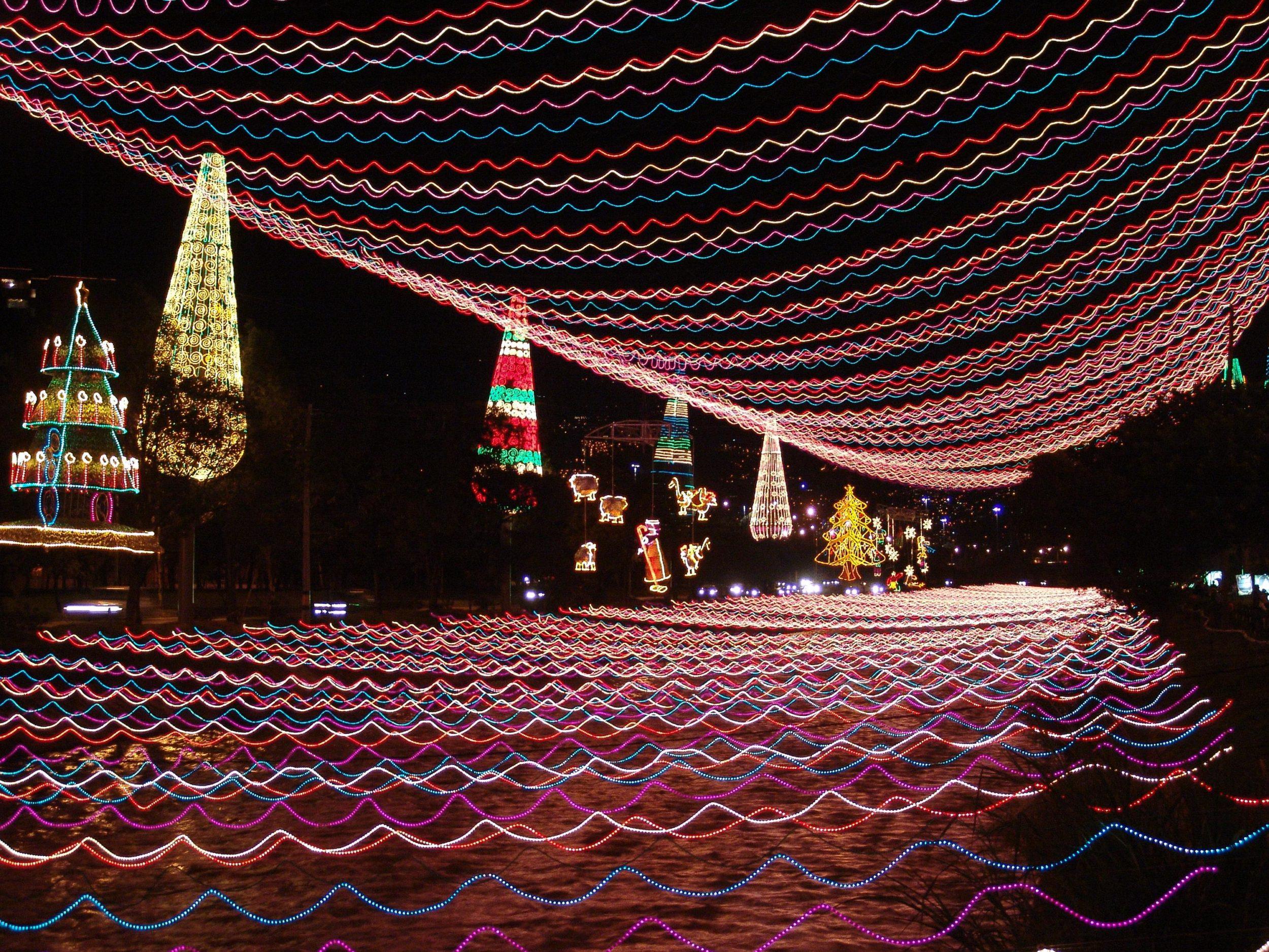 Christmas lights in Medellín over the river