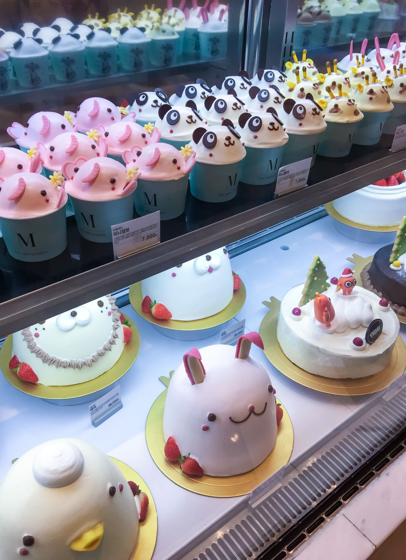 Adorable panda, bunny and other cakes in The Menagerie at Shinsegae department store food hall in Seoul.