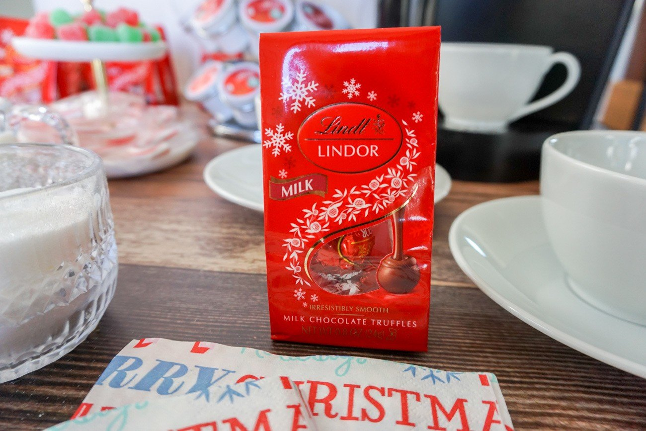 Lindt milk chocolate truffles come in these small packs of two and are perfect holiday favors that cost just $1 at Target.
