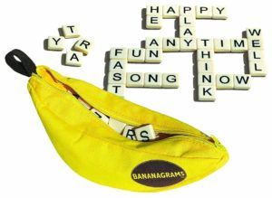 Bananagrams are a great travel game for kids and adults.