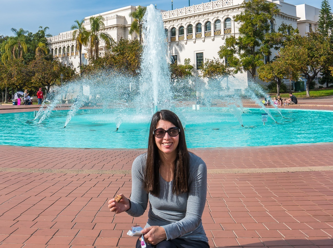 A goodnessknows snack square break in front of the Balboa Park fountain.