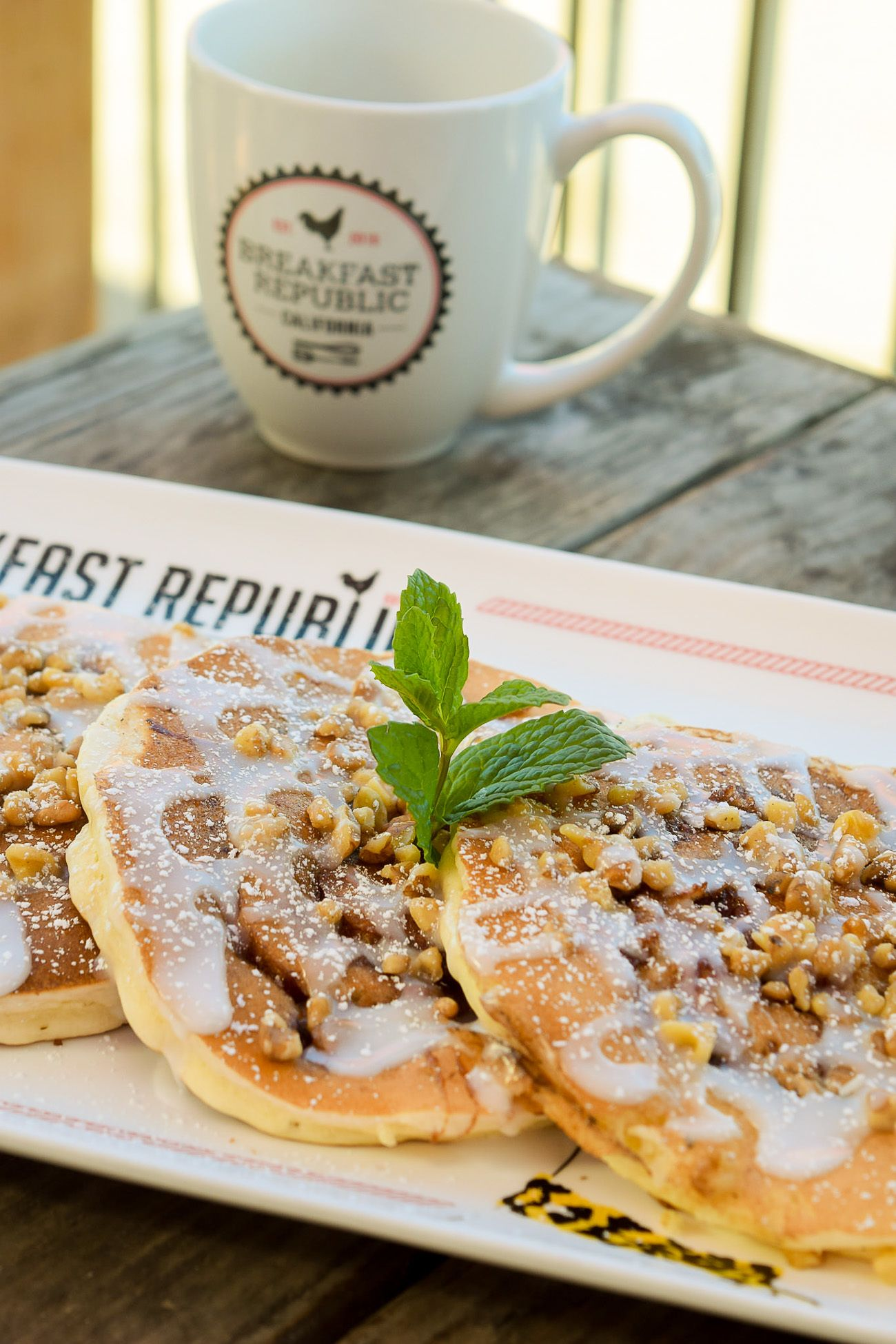 The cinnamon roll pancake recipe from Breakfast Republic restaurant in San Diego.