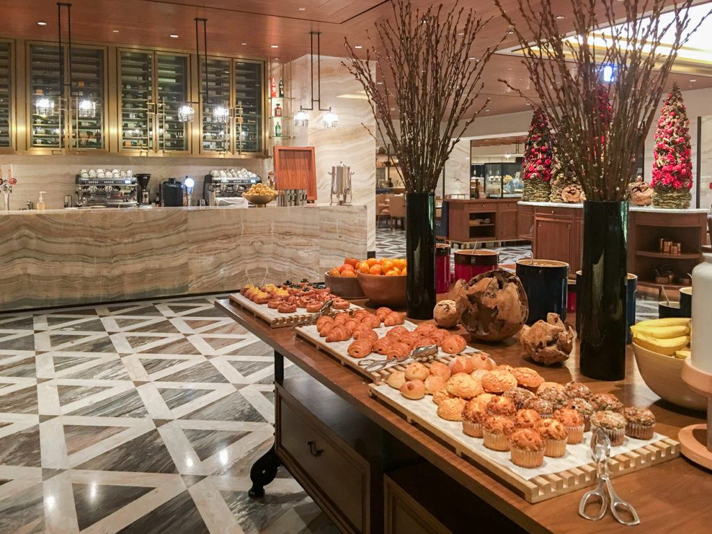 The coffee bar and baked goods section at the Four Seasons Hotel Seoul breakfast buffet.