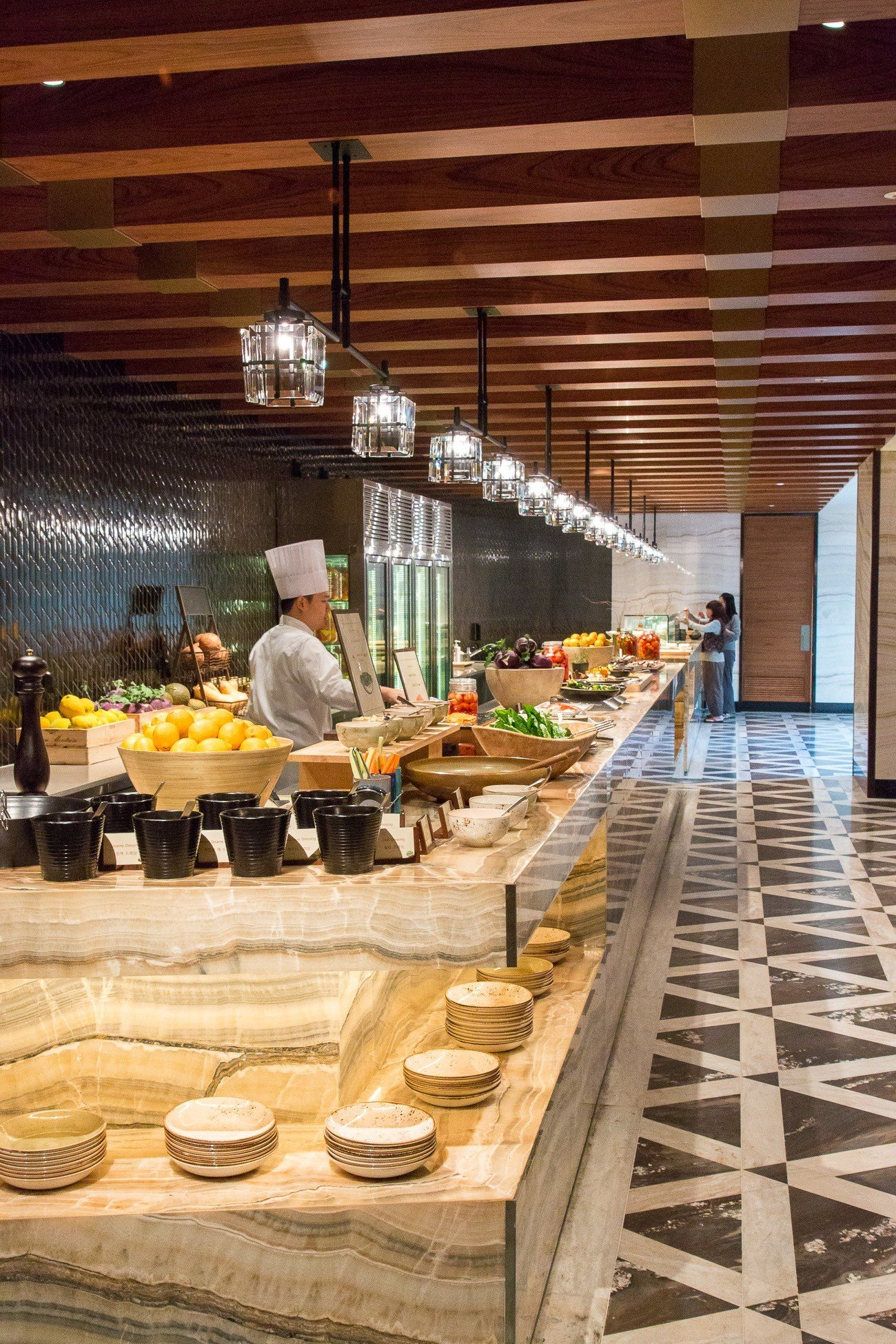 Breakfast buffet at The Marketplace features multiple cuisines.