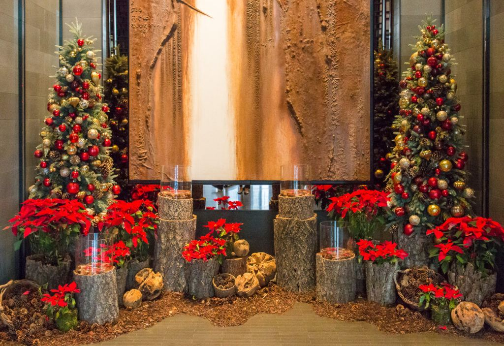 Christmas trees at the entry of Four Seasons Hotel Seoul.