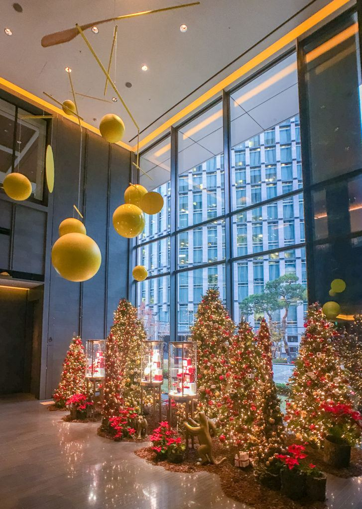 Christmas trees near the front desk at Four Seasons Hotel Seoul