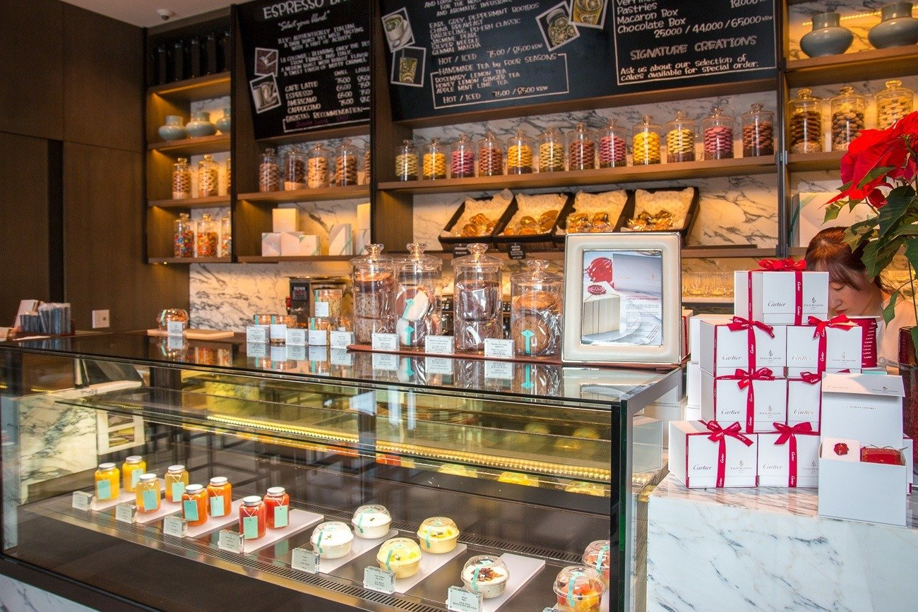 Confections by Four Seasons sells cakes, macarons and pastries to go.