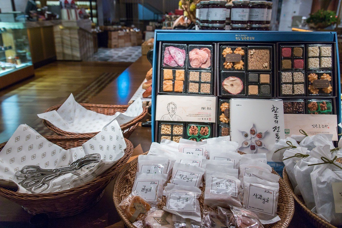 Korean specialty snacks and desserts make a great souvenir from The Marketplace at Four Seasons Hotel Seoul.