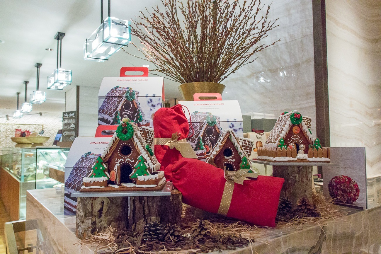 Gingerbread house kits available for take-home at The Marketplace inside Four Seasons Hotel Seoul.