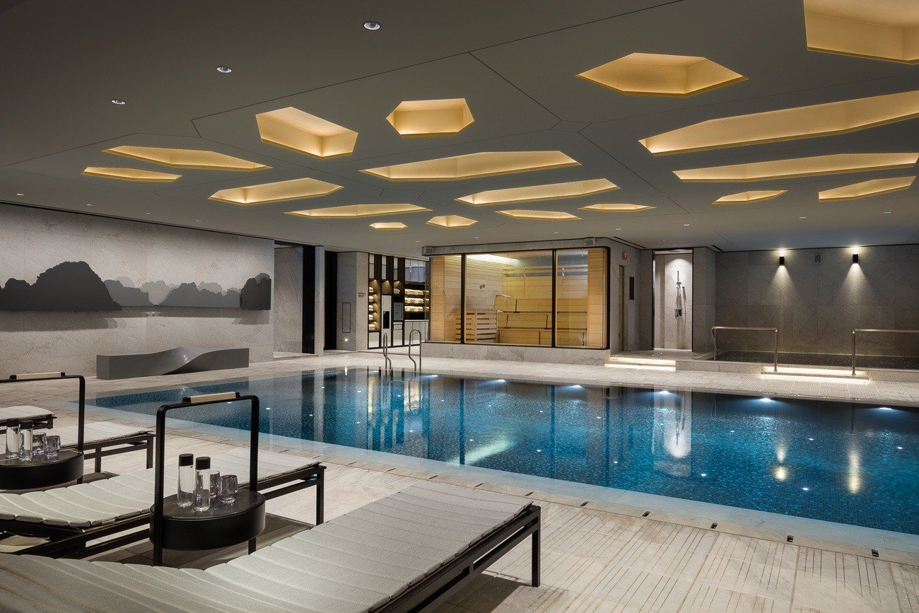 The gorgeous indoor pool at Four Seasons Hotel Seoul.