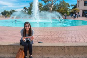 A snack by the Balboa Park fountain