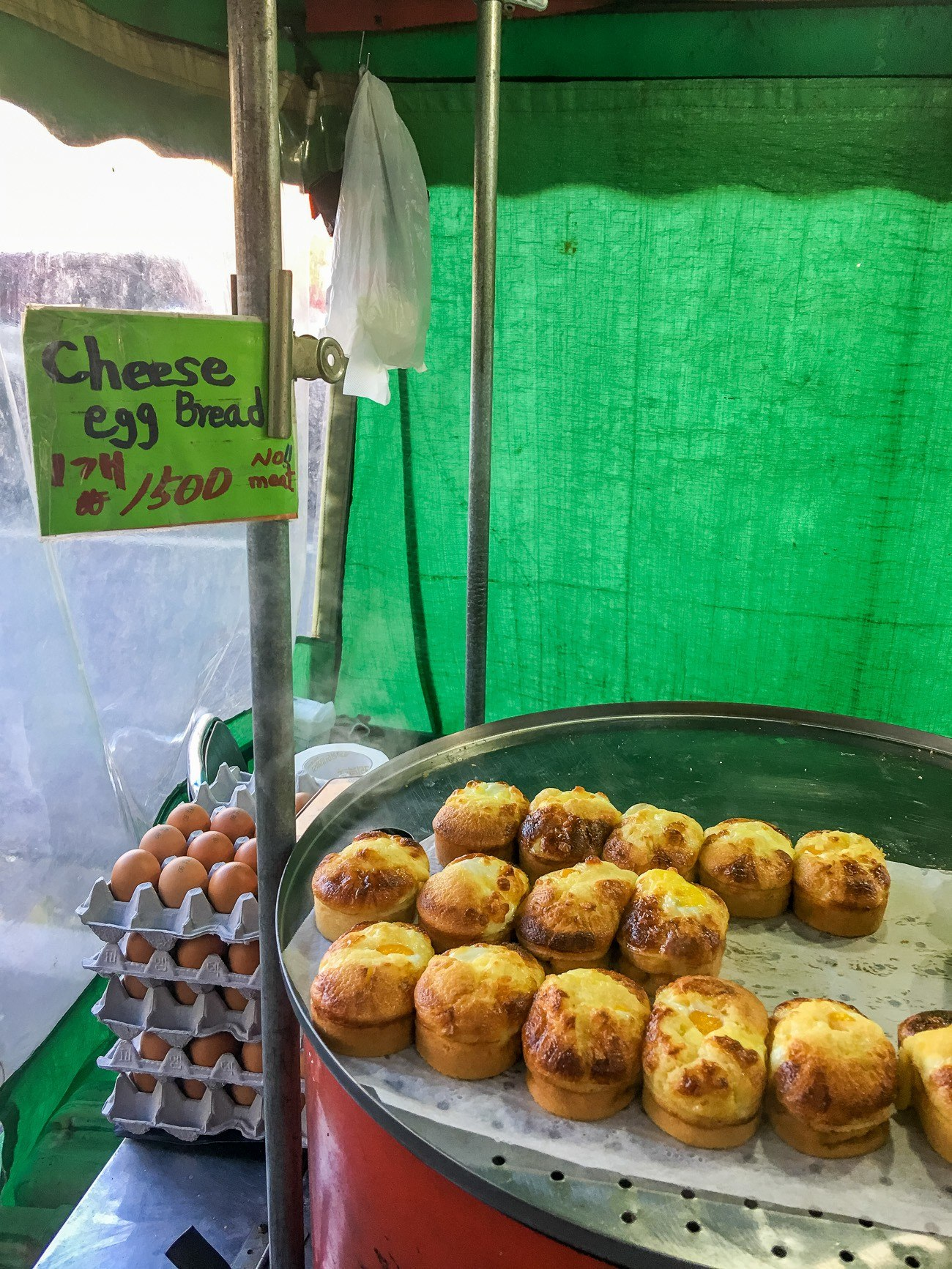 Gyeranppang (egg bread) is a popular street food in Seoul.