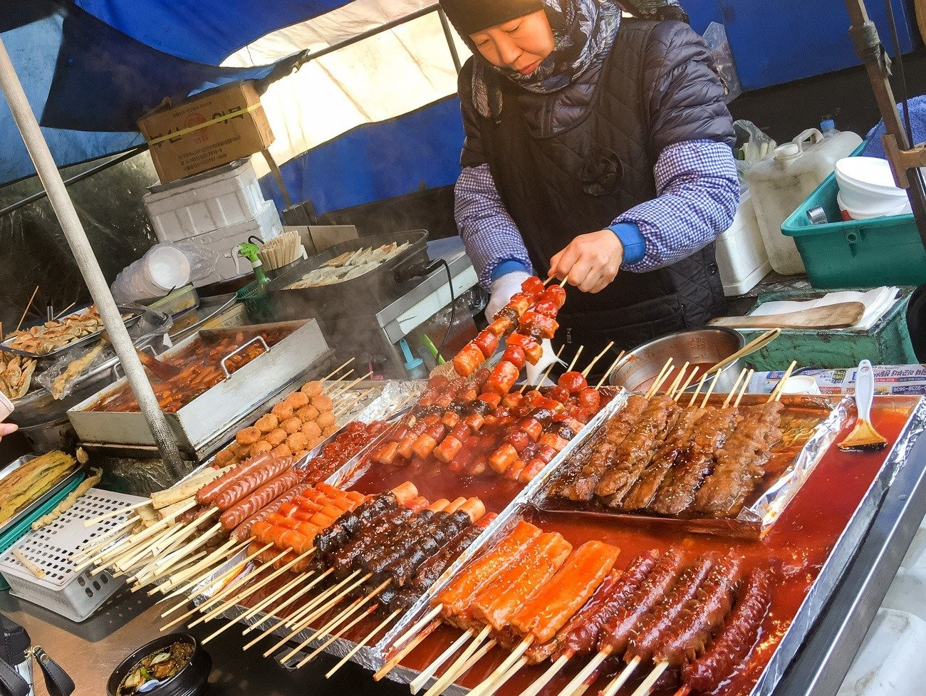 Skewers are a super popular Korean street food in Seoul.