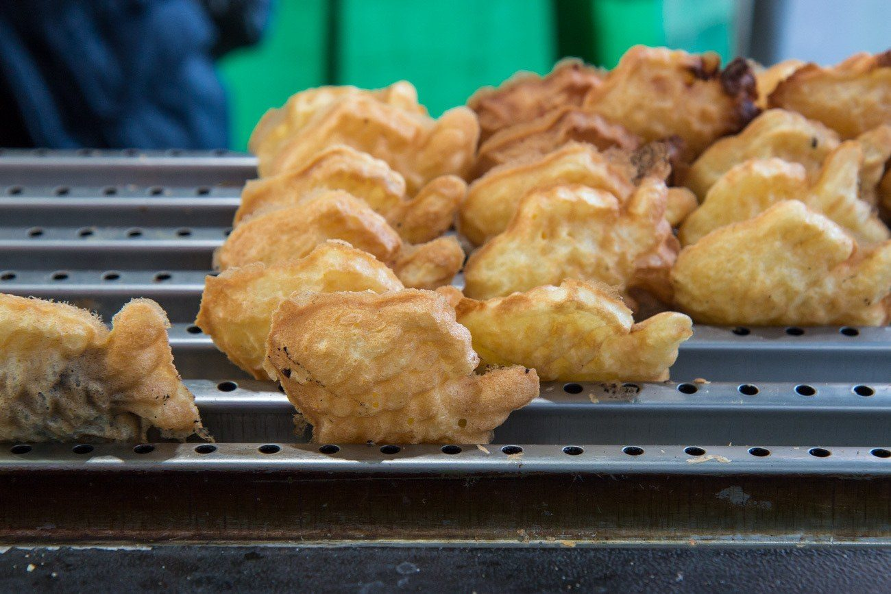 Bungeoppangs (red bean cake shaped like a fish) spotted on a street food tour in Seoul.
