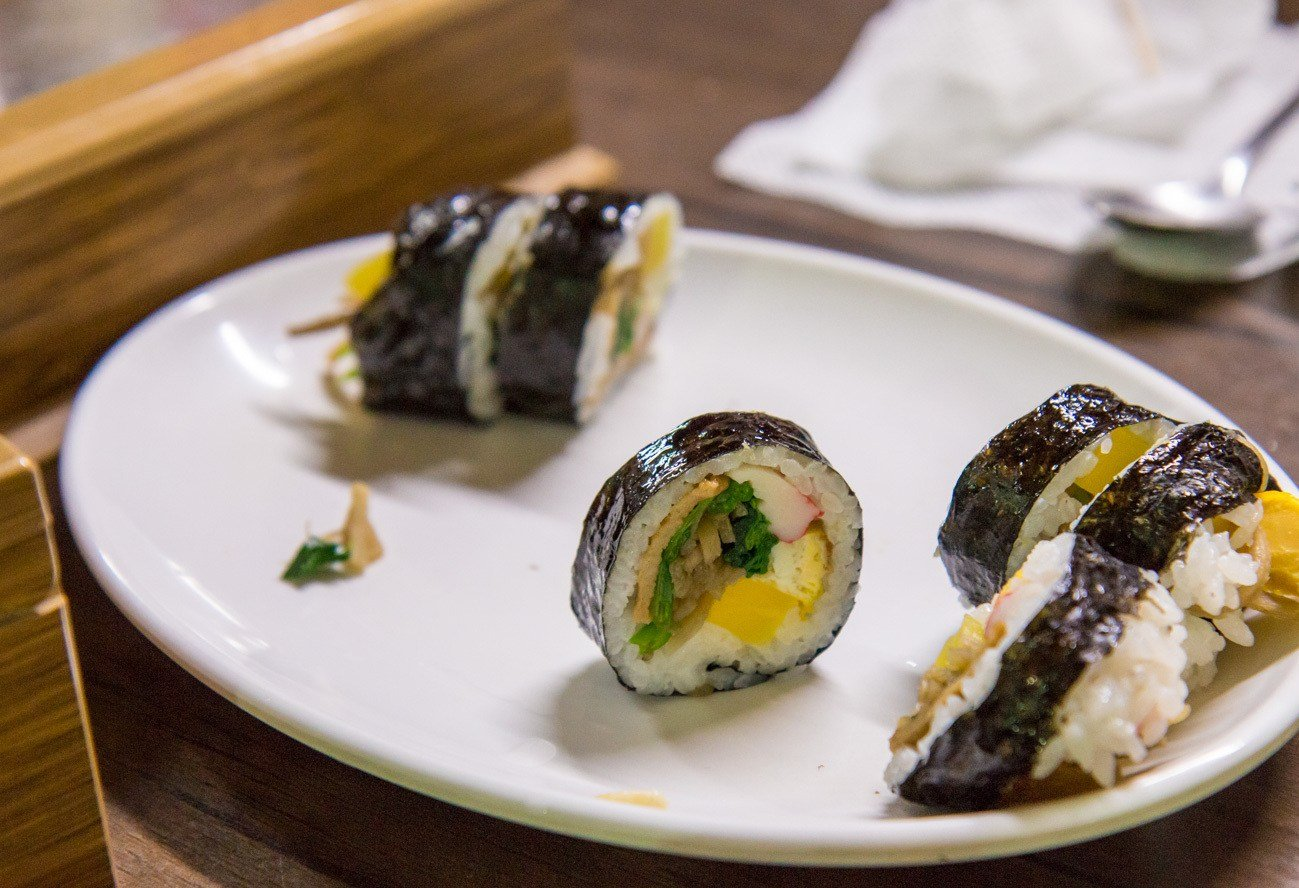 Gimbap eaten on a Seoul street food tour.