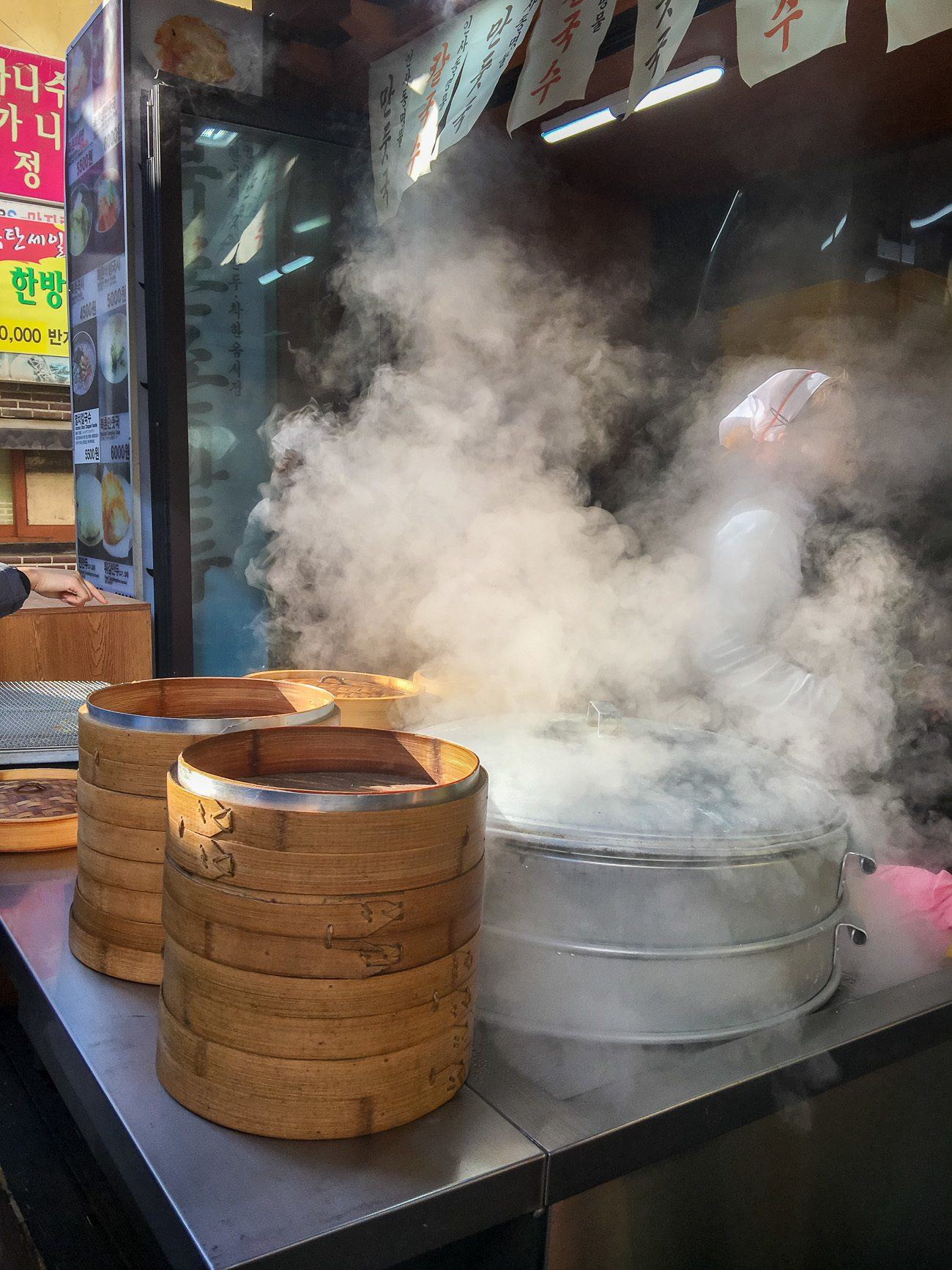 A small shop in Seoul gets ready to steam North Korean-style dumplings.