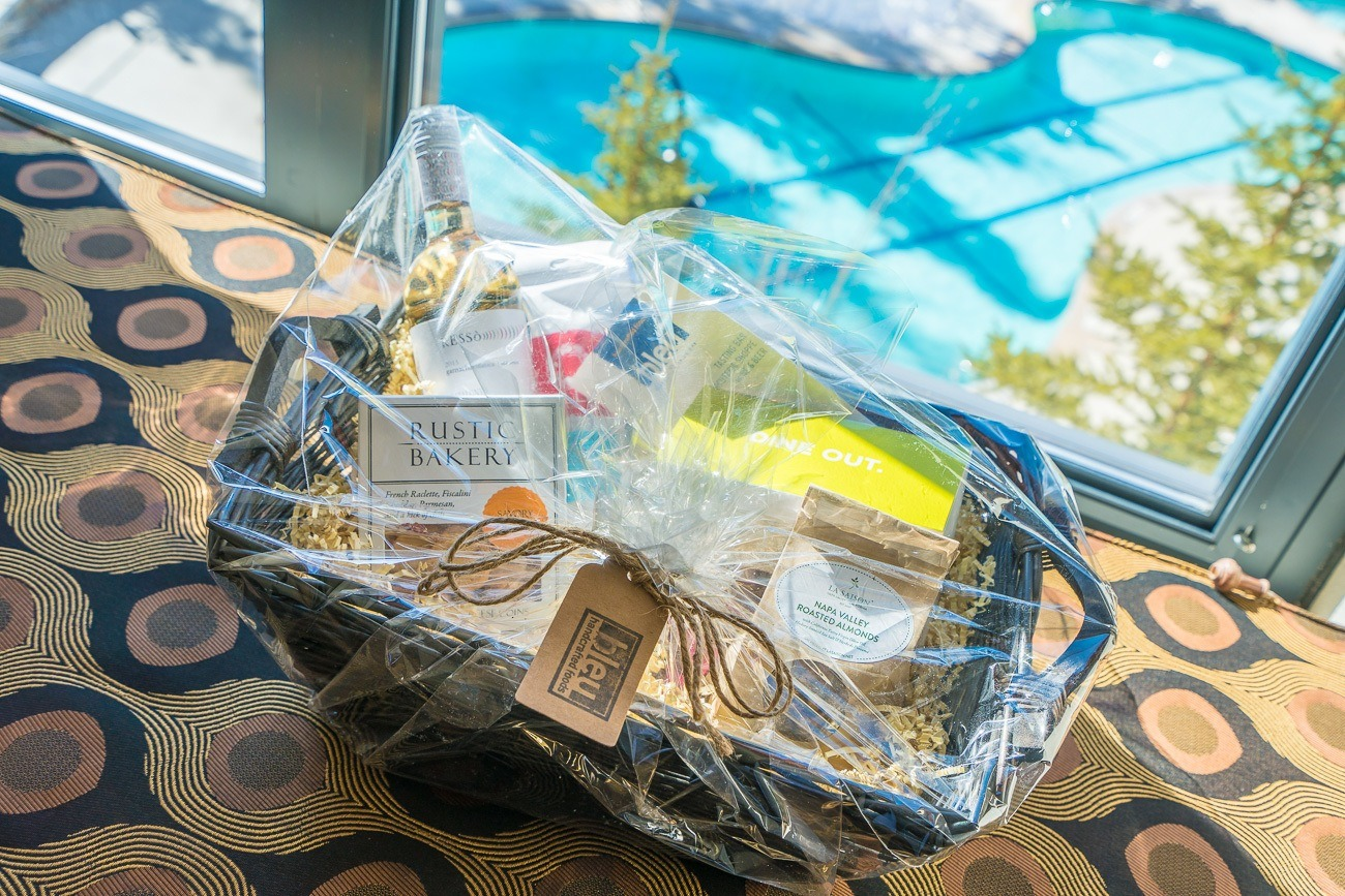 A lovely gourmet basket delivered to The Westin by Blue Market and Wine Bar in Mammoth.