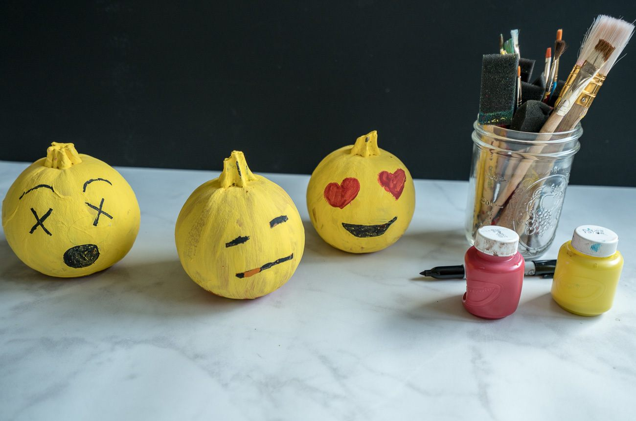Learn how to make easy emoji pumpkins