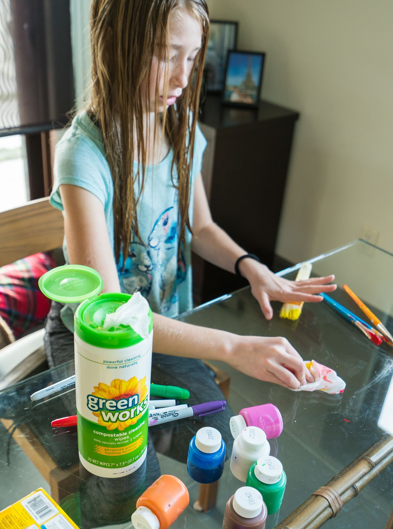 Kids can use Green Works to clean up their own mess after crafting.