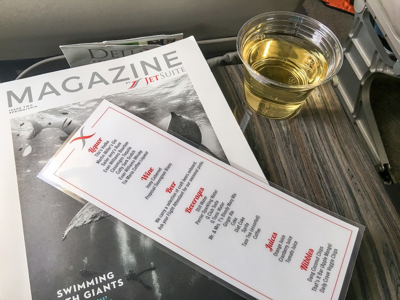 Passengers on JetSuiteX have a nice menu of premium wine and cocktails.