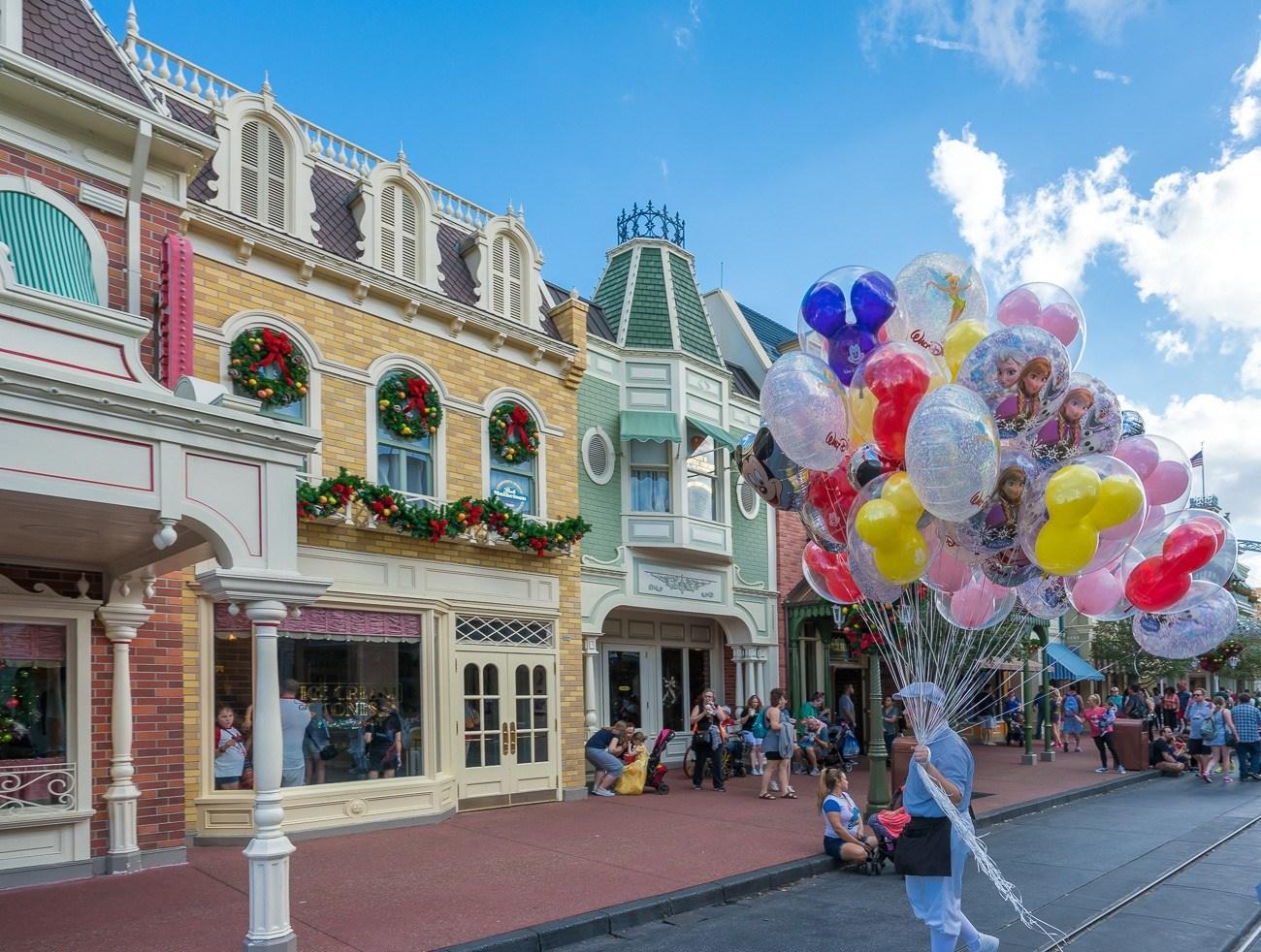 Balloons on Main Street U.S.A. at Walt Disney World's Magic Kingdom.