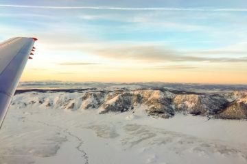 Sunset over Mammoth as seen from a JetSuiteX flight.