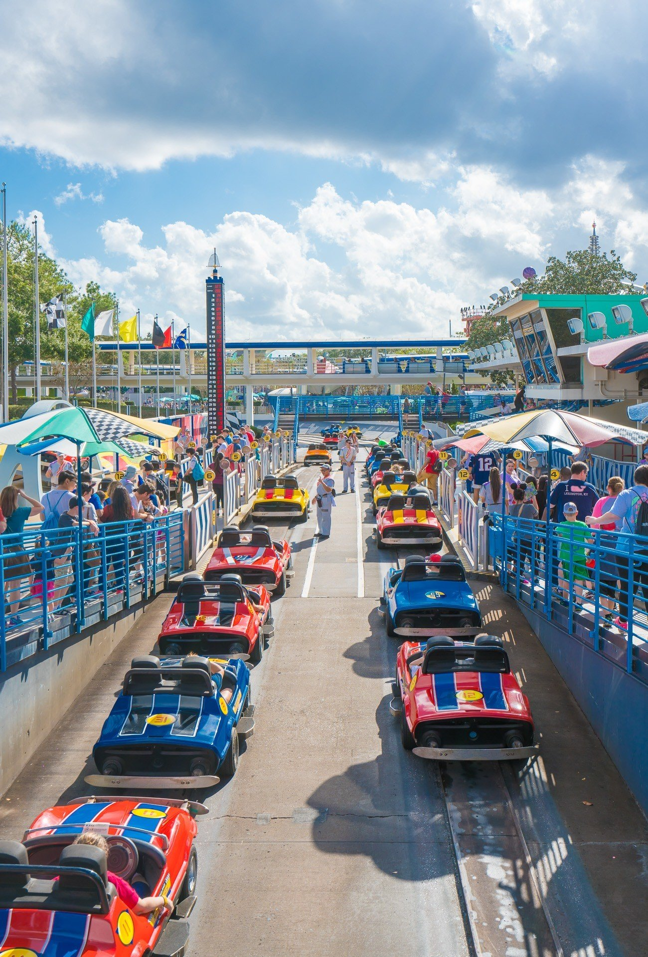 With our Disney World VIP tour we did wait in line for Tomorrowland Speedway at Magic Kingdom.