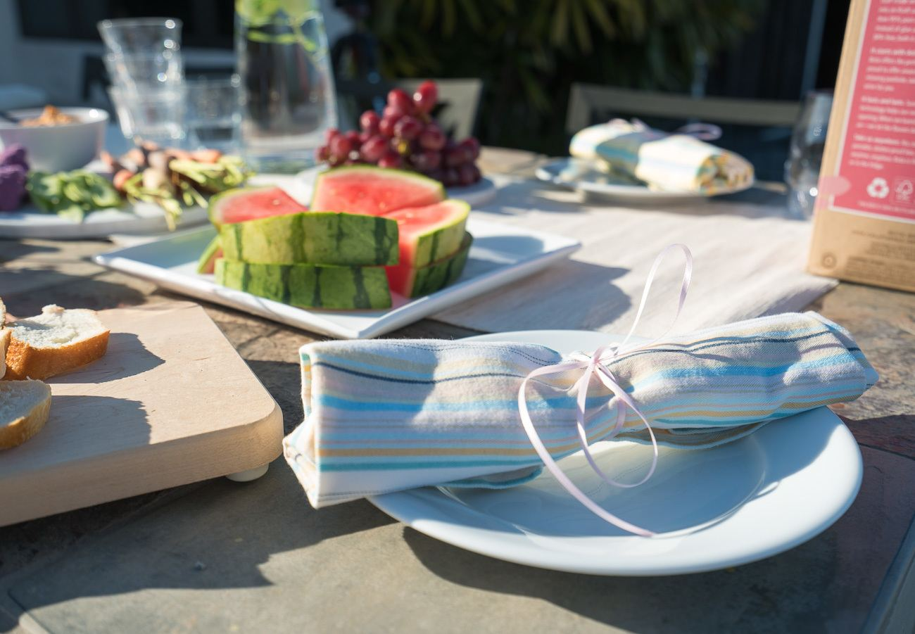 When entertaining outdoors, it's easy to skip disposable plates and napkins.