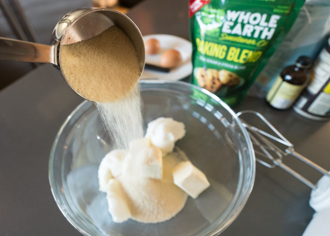Assembling the recipe for lower calorie sugar cookies.