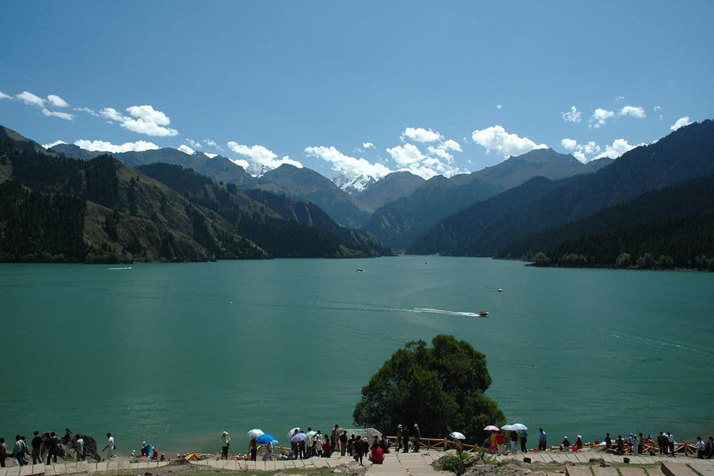 Tianshan Tianchi Lake in Urumqi, China is a popular attraction but requires some effort to get to.