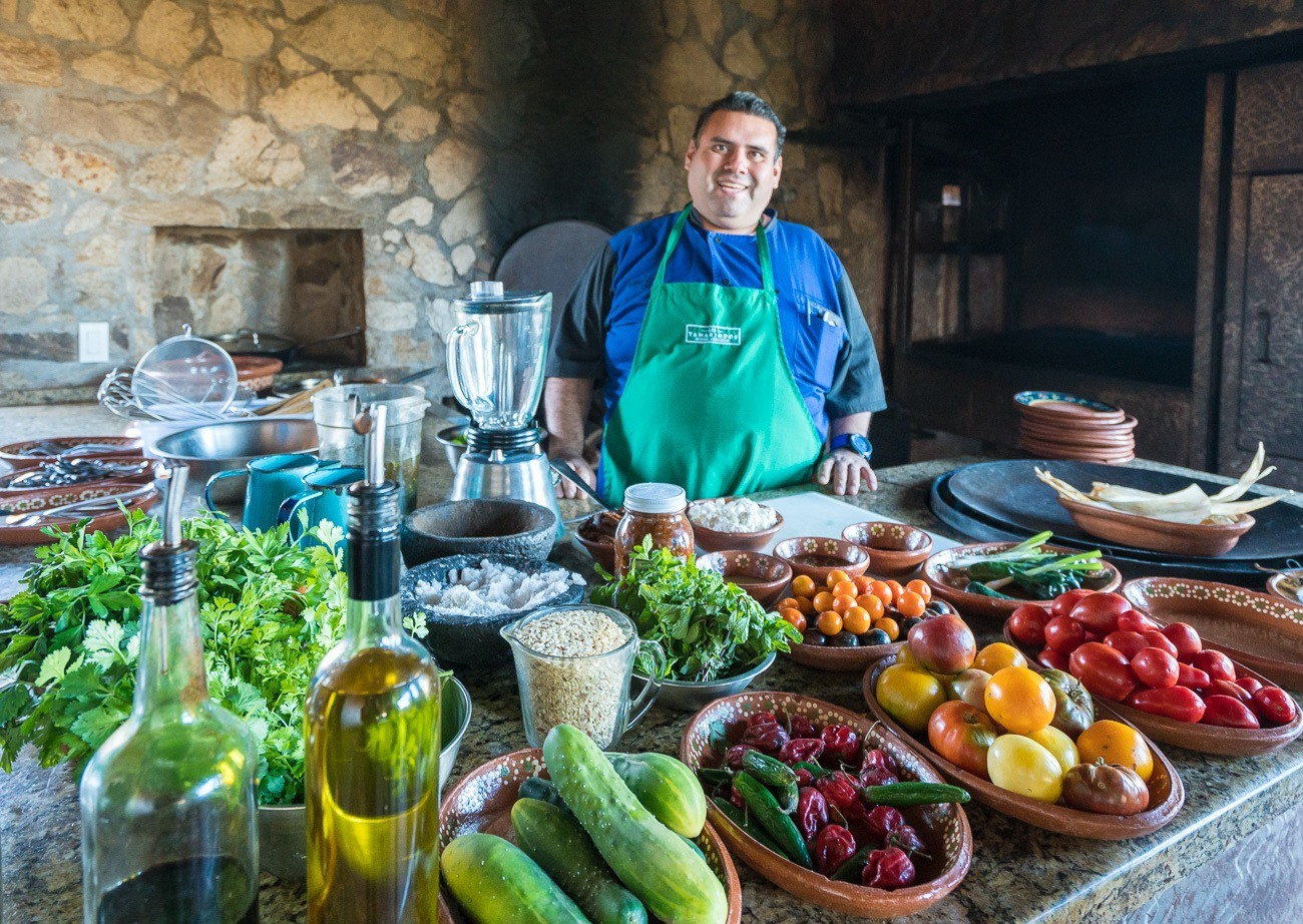 Cooking class at Los Tamarindos restaurant in San Jose del Cabo, Mexico.