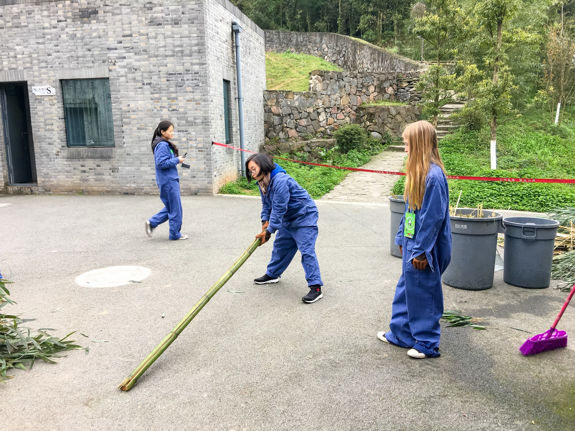 Learning to split bamboo while volunteering at Dujiangyan Panda Base outside of Chengdu, China.