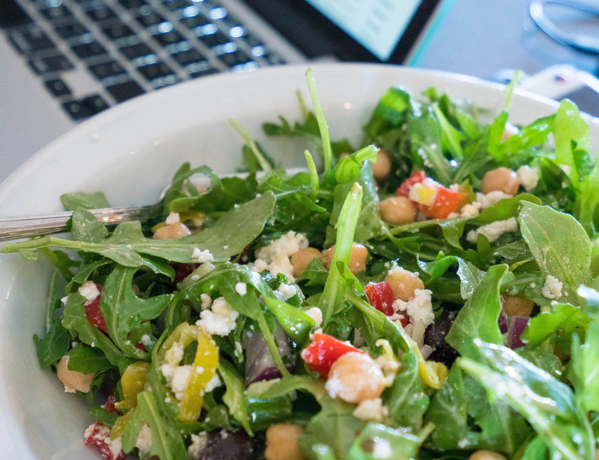 A gorgeous Greek Farmer's Fix salad that I had delivered to home.