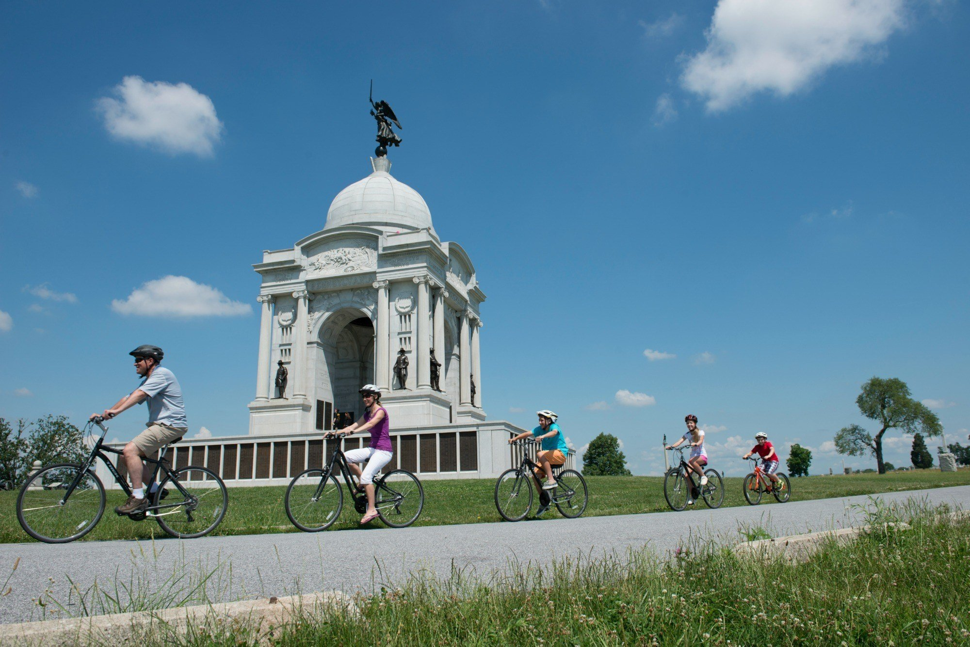 A family bike tour is a popular thing to do in Gettysburg with kids