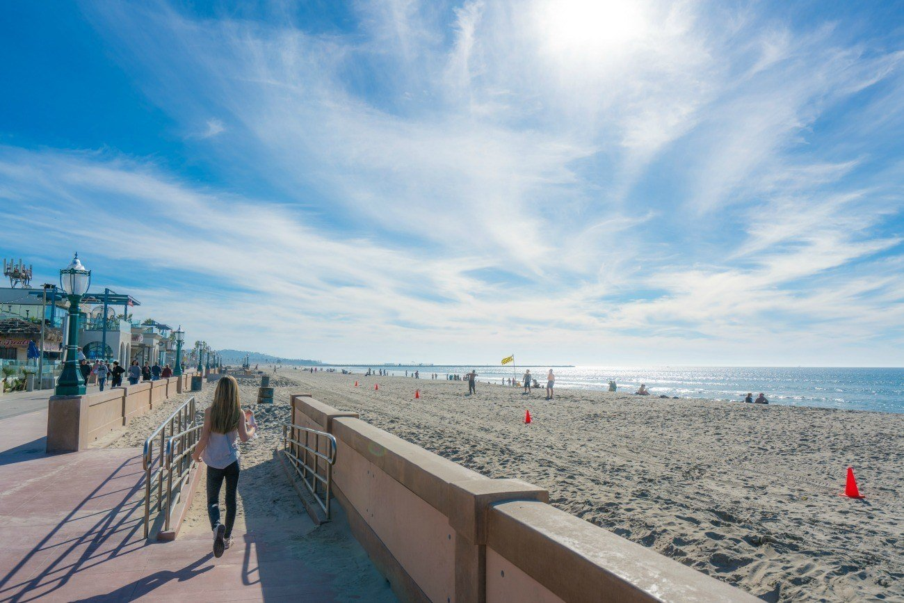 The Mission Beach Boardwalk In Front Of Belmont Park San Go